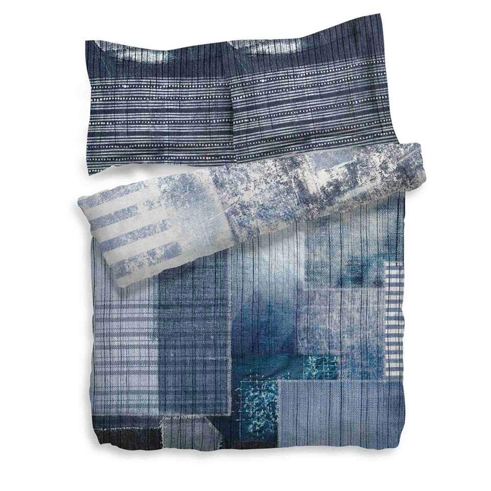 Heckett & Lane dekbedovertrek Gavriel - blauw - 200x200 cm