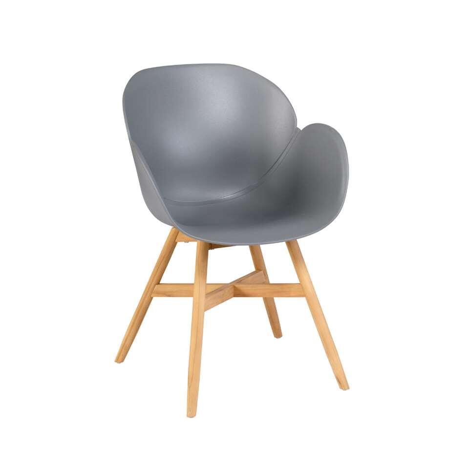 Exotan Tulip stoel teak - grijs (2 stuks) - Leen Bakker