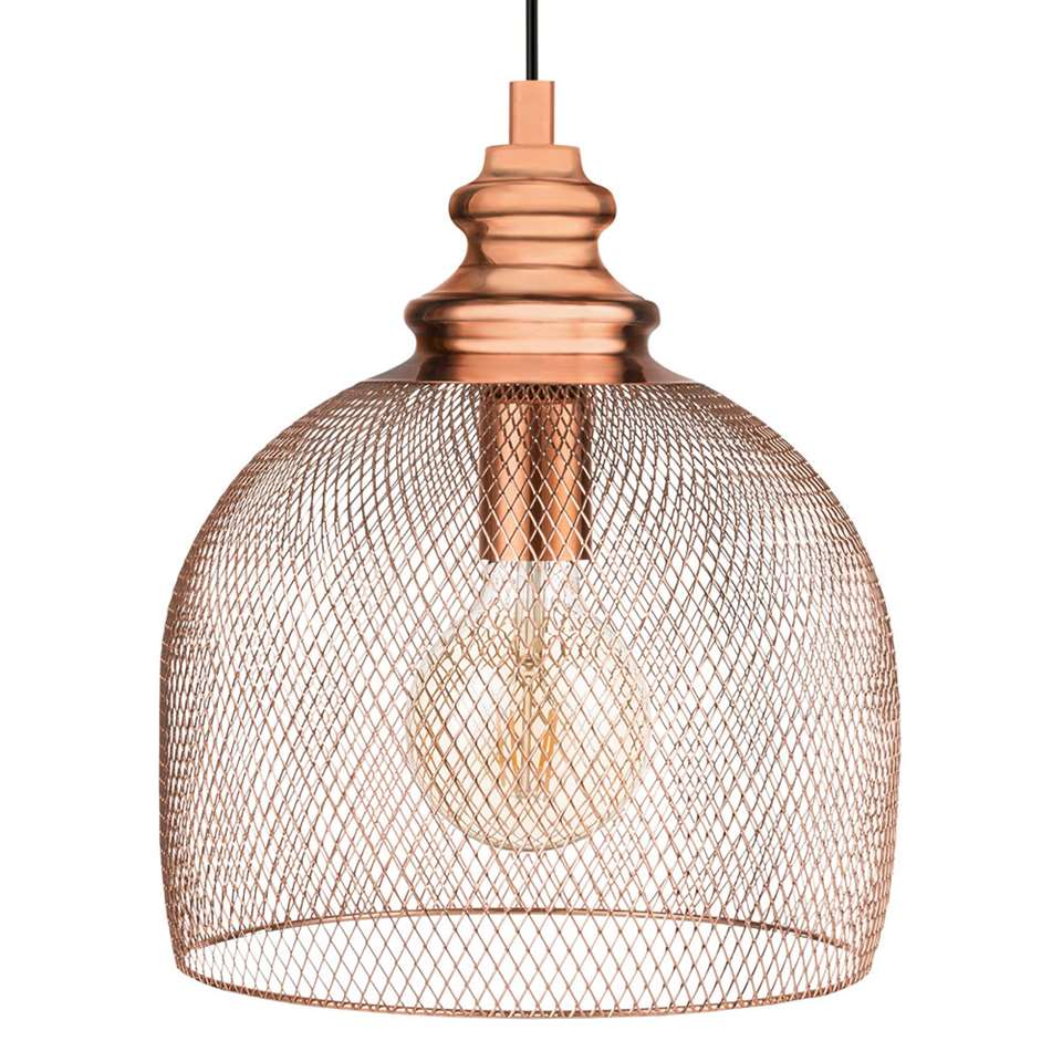 Hanglamp Straiton van EGLO is een trendy blikvanger gemaakt van staal met een koperkleurige afwerking en heeft een diameter van 28 cm. Door het open design van deze kap wordt er een mooie lichtspreiding gecreëerd.