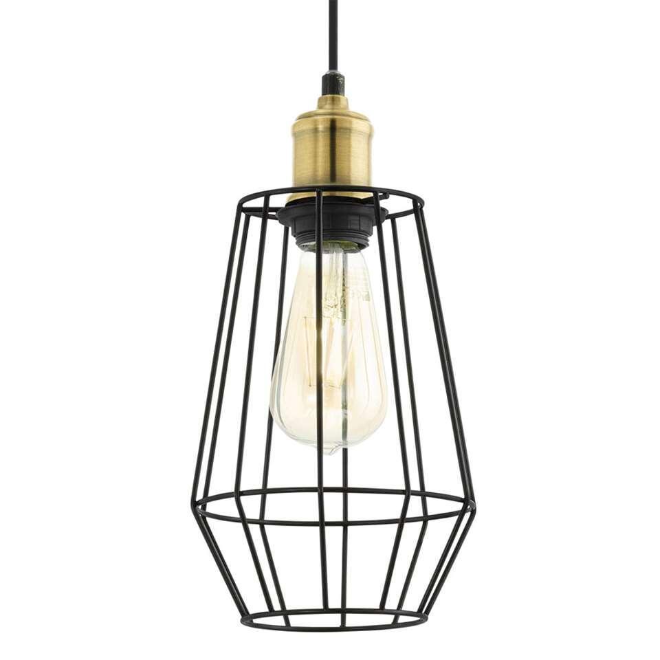 Hanglamp Denham van EGLO is een trendy draadlamp gemaakt van staal met een zwarte afwerking en heeft een diameter van 15,5 cm.