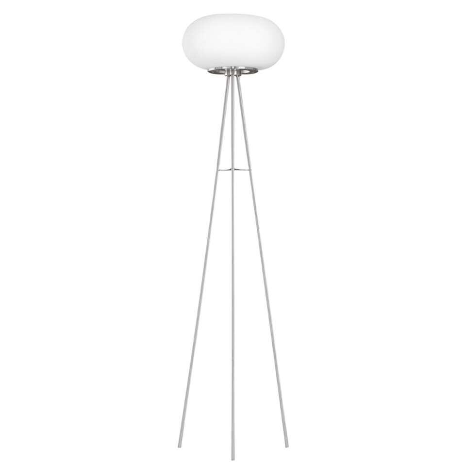 EGLO vloerlamp Optica - opaal/nikkel mat