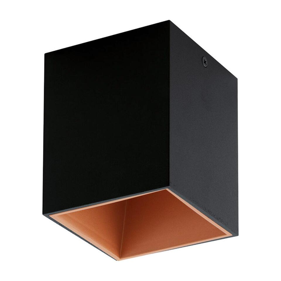 Plafondspot Polasso van EGLO is moderne en chique LED plafondspot gemaakt van kunststof en aluminium en afgewerkt in de kleuren zwart gecombineerd met koper.