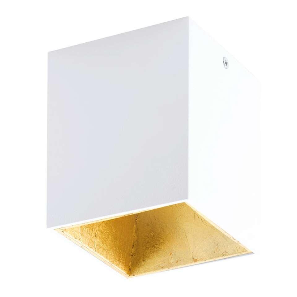 Plafondspot Polasso van EGLO is een moderne en chique LED plafondspot gemaakt van kunststof en aluminium en afgewerkt in de kleuren wit gecombineerd met goud.