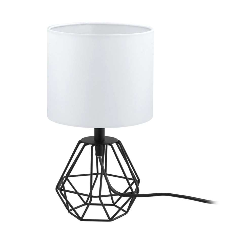 EGLO tafellamp Carlton 2 – zwart/wit – Ø16 cm – Leen Bakker