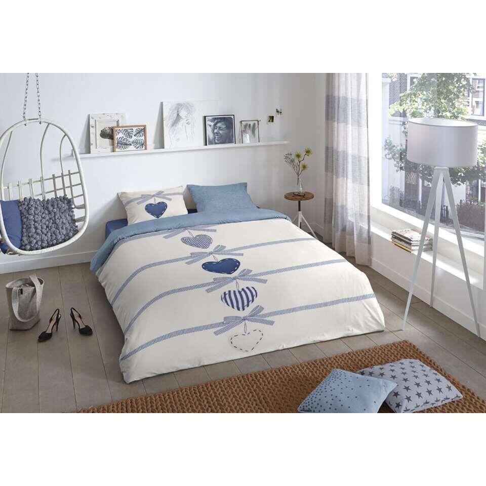 Good morning dekbedovertrek Hearts - blauw - 200x 200/220 cm