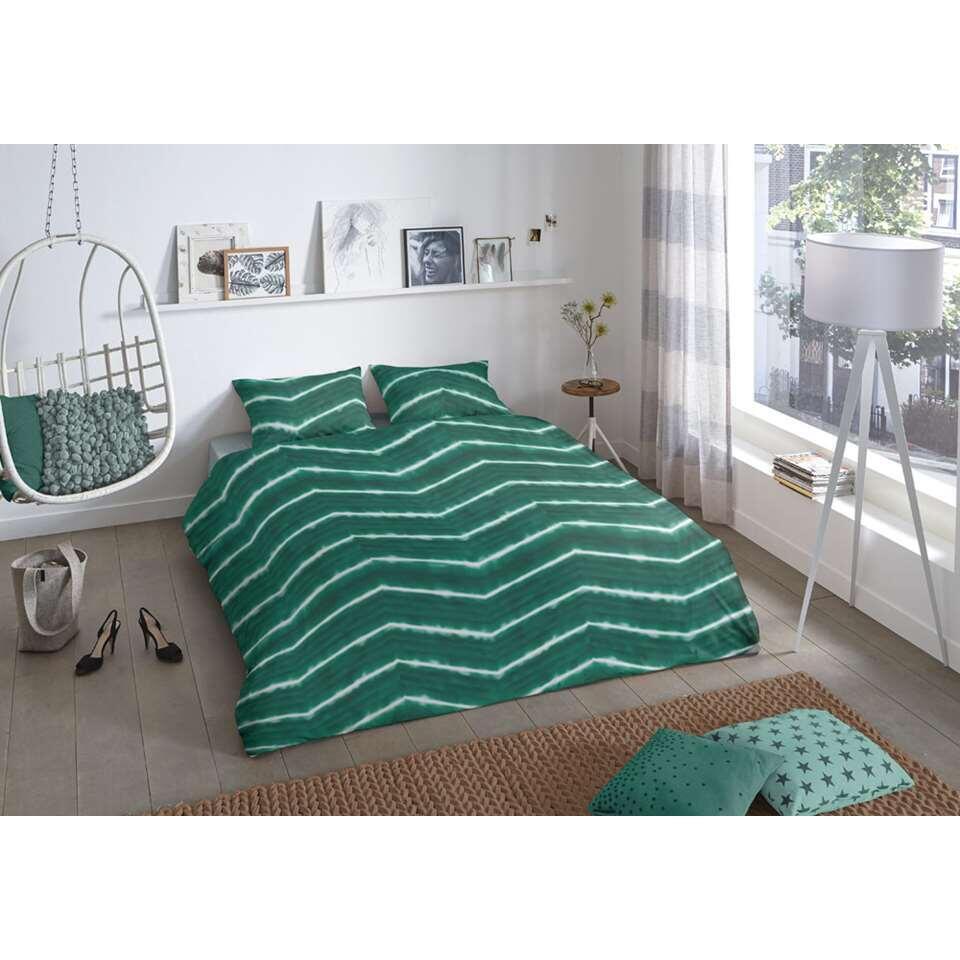 Good morning dekbedovertrek Batik - groen - 140x 200/220 cm - Leen Bakker