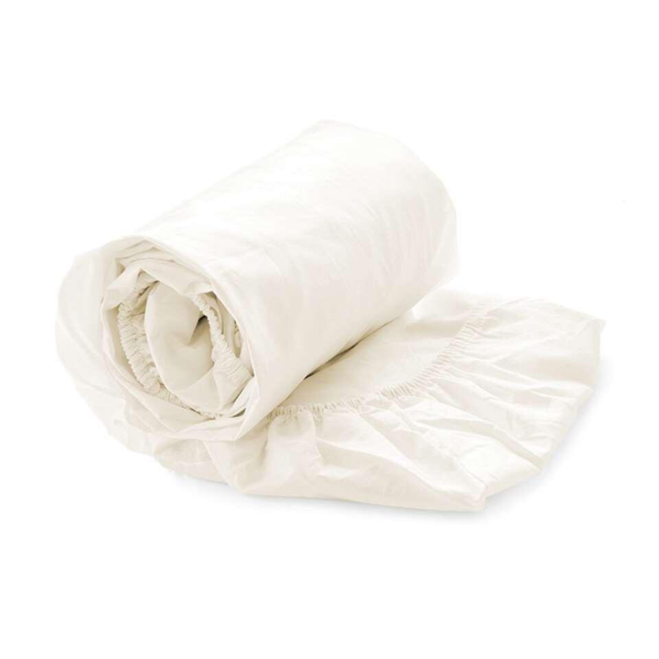 Heckett & Lane split-topper hoeslaken Off-white - crème - 180x210/220 cm - Leen Bakker