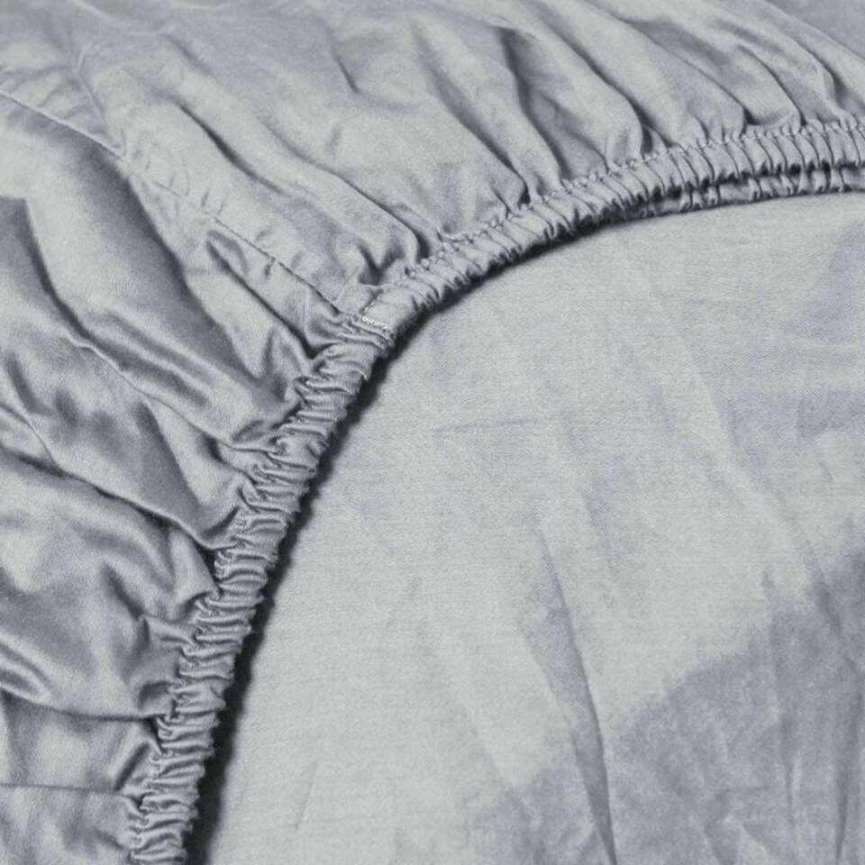 Heckett & Lane hoeslaken Silver Grey - grijs - 180x210/220 cm - Leen Bakker