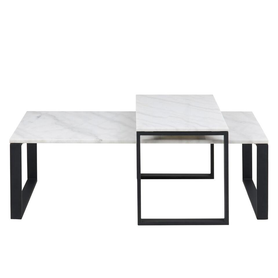 Salontafel Turi (2 stuks) - marmer/zwart - 37,5x115x55 en 45x69x40 cm