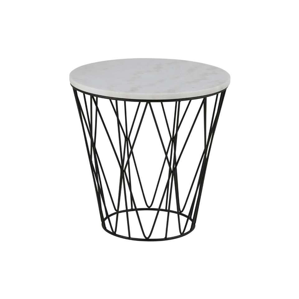 Bijzettafel Kolga marmer guangxi - wit - 50x50x50 cm (hxbxd) - Leen Bakker