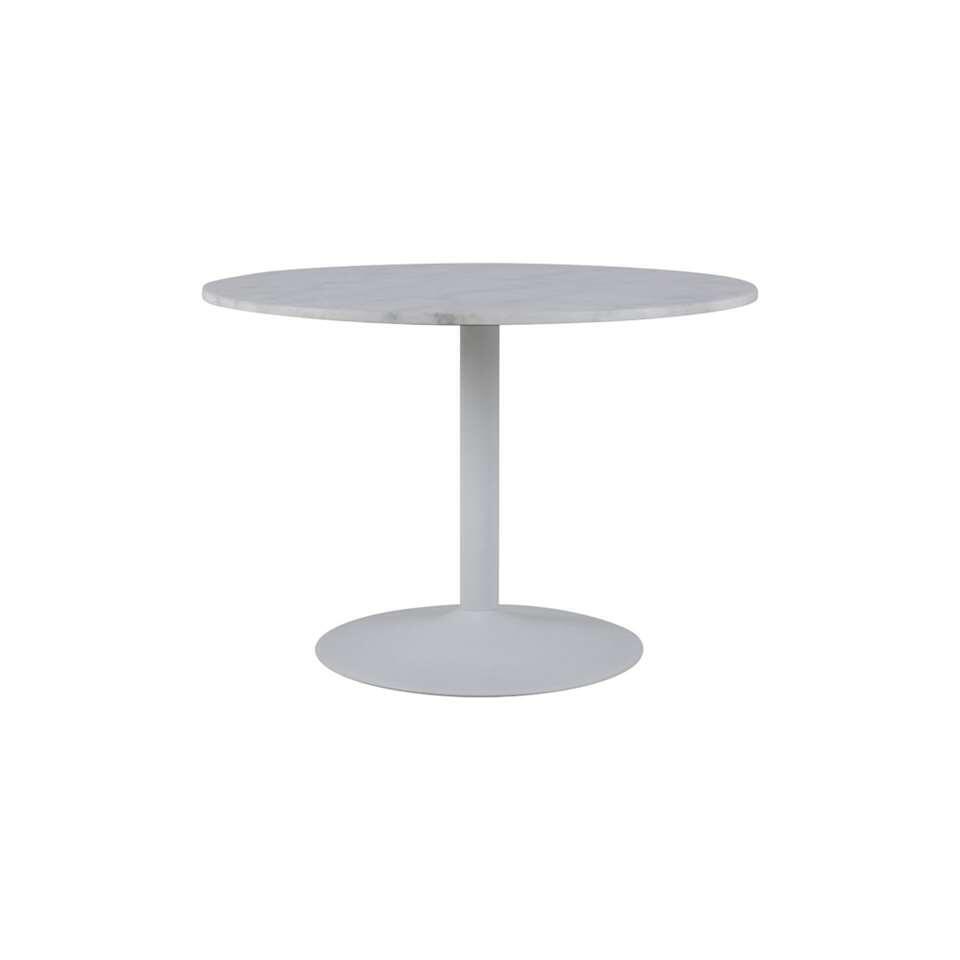 Eetkamertafel Eleja marmer guangxi (rond) - wit - Ø80x45 cm - Leen Bakker