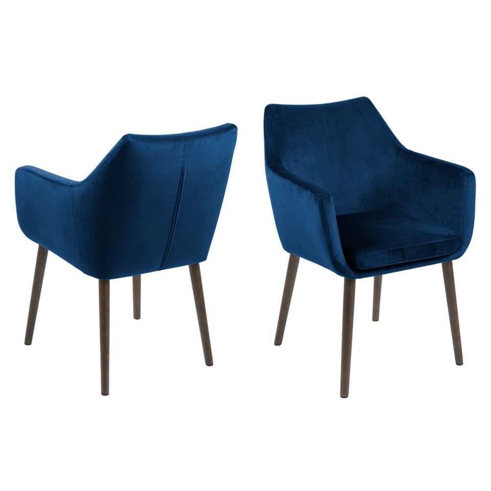 Chaise de salle à manger Uppsala - tissu - bleu foncé