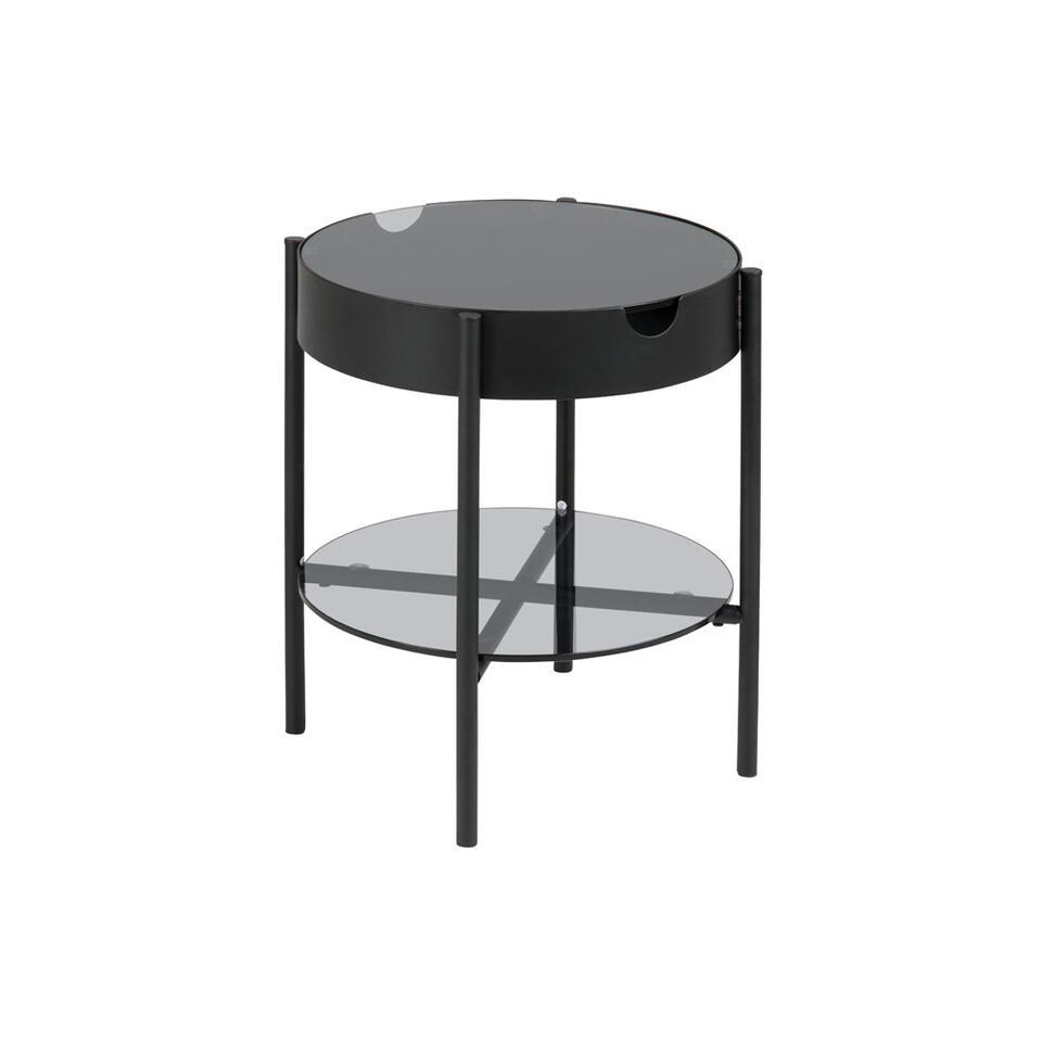 Bijzettafel Myrdal - grijs/zwart - Ø45 cm - Leen Bakker