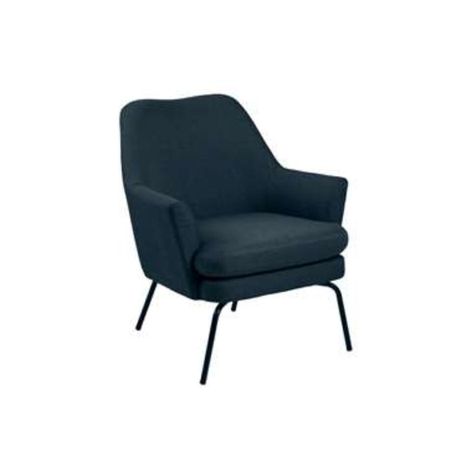 Relaxfauteuil Ulla – stof – donkerblauw – Leen Bakker