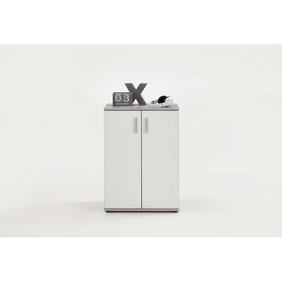 Commode Albi - betonkleur/wit - 60x83x35 cm - Leen Bakker