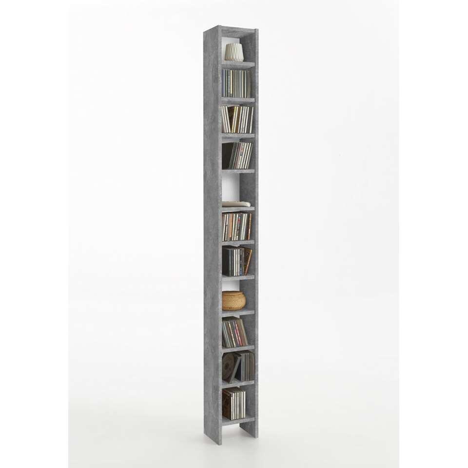 CD/DVD-kast Hallo - betonkleur - 19,5x185x16,5 cm