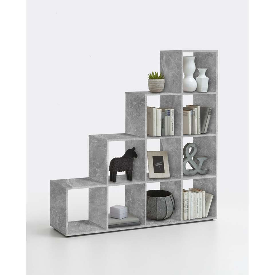 Roomdivider Mega 10 vakken - betonkleur - 138,5x143,4x33 cm