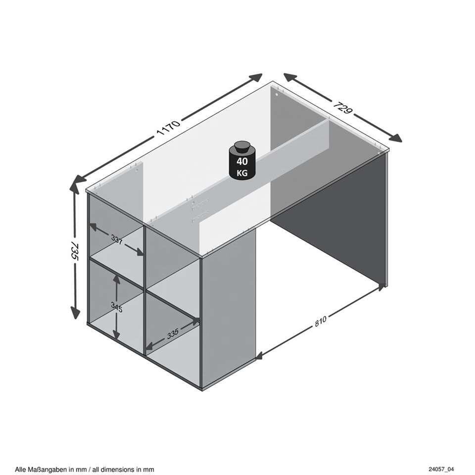 Bureau Gent - beton - 117x75x73 cm - Leen Bakker