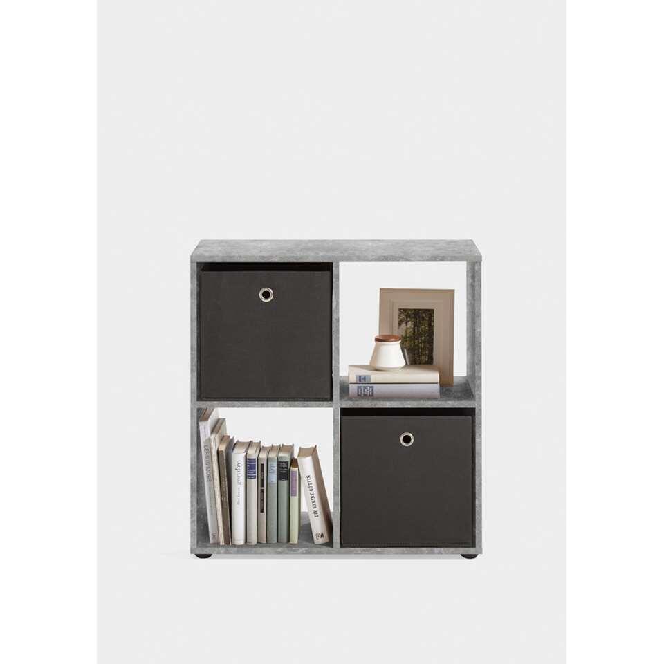 Roomdivider Mega 4 vakken - betonkleur - 70x37x33 cm - Leen Bakker