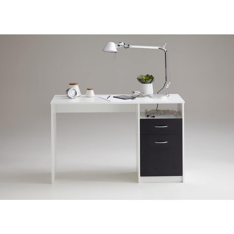 Bureau Jackson- zwart/wit - 123x76 cm - Leen Bakker