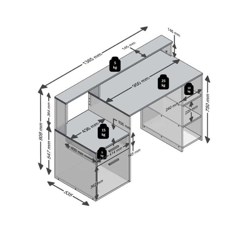 Bureau Bolton - wit/beton - 91,6x138,5x53,5 cm - Leen Bakker