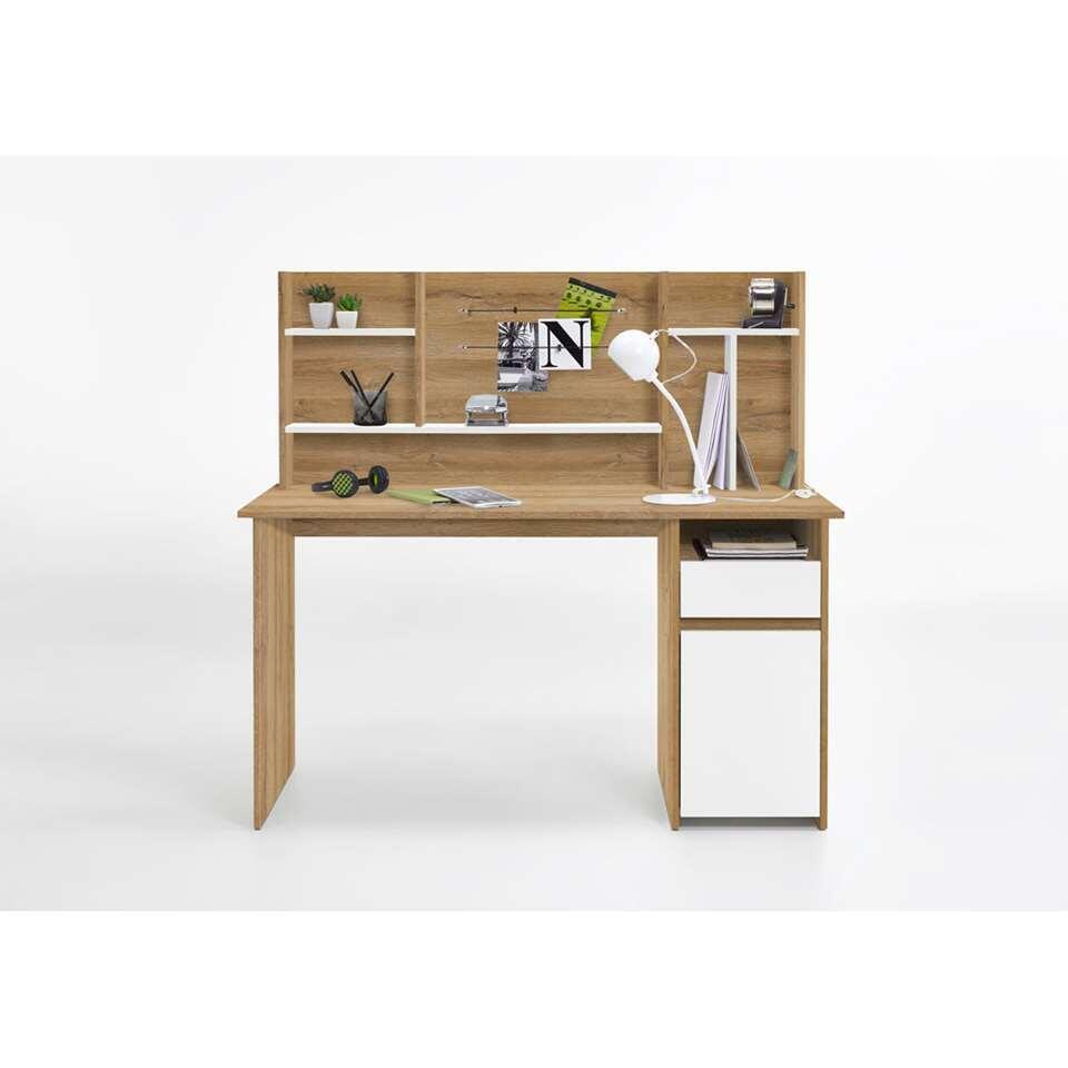 Bureau Cambridge - oud eikenkleur/wit - 135x129 cm - Leen Bakker