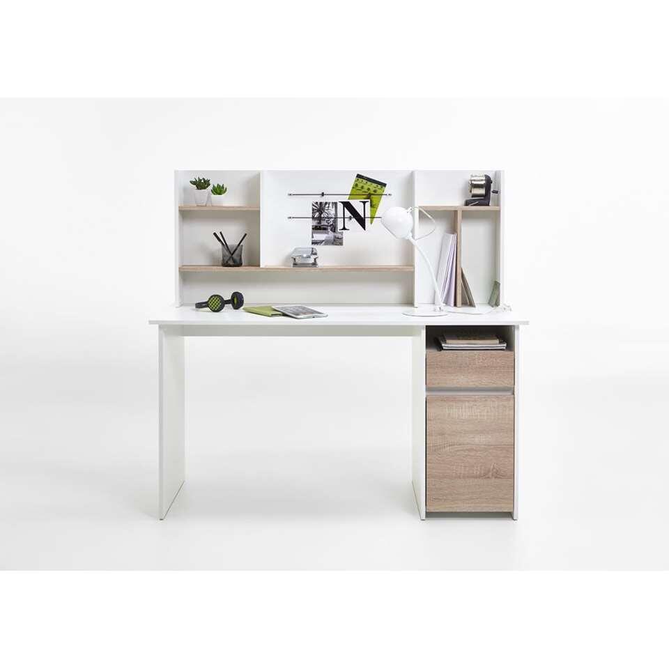 Bureau Cambridge - wit/eikenkleur - 135x129 cm - Leen Bakker