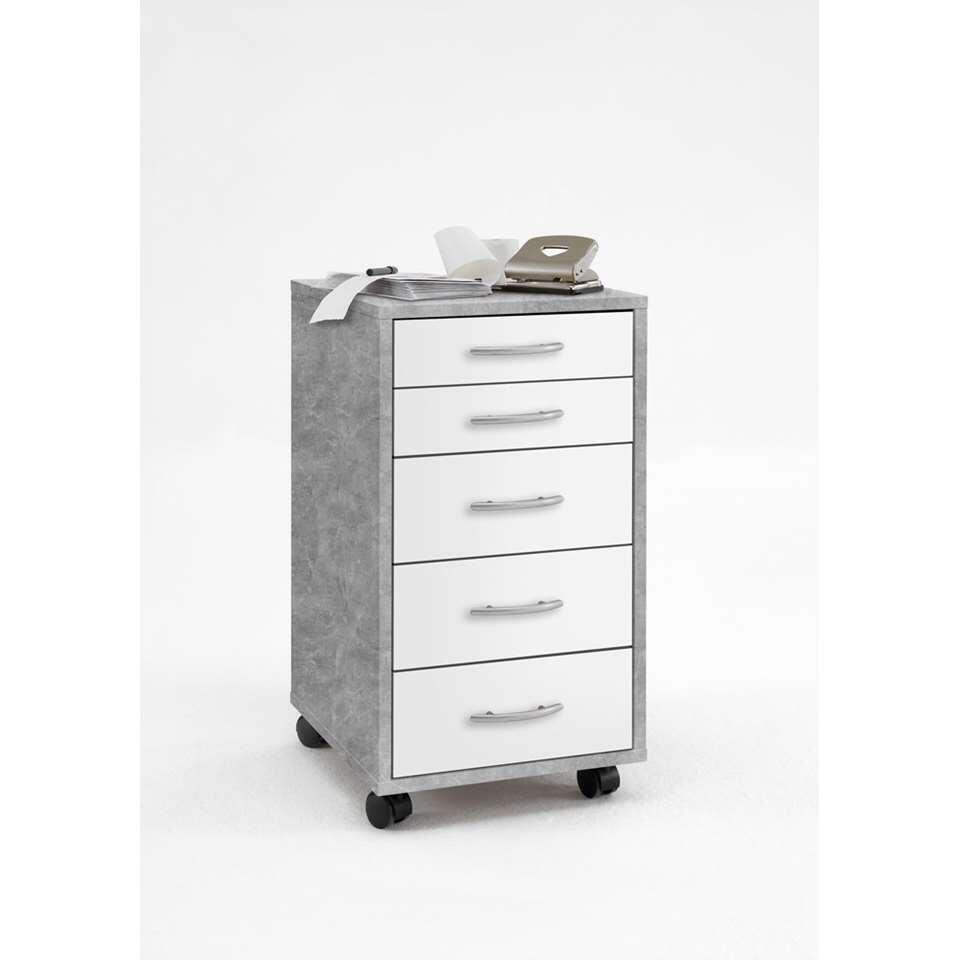 Bloc à tiroirs Freddy - 5 tiroirs - gris béton/blanc - 63,5x33x38 cm