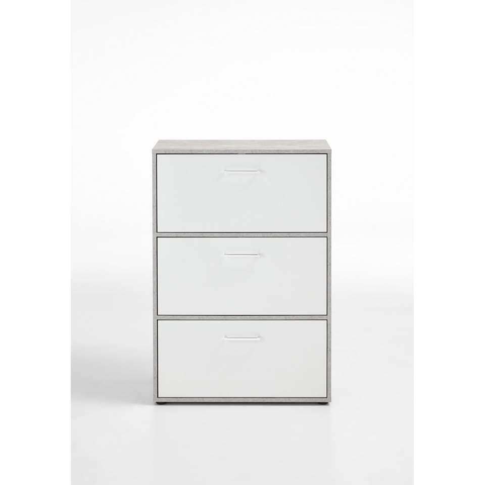 Schoenenkast Almada - betonkleur/wit edelglans - 69x99x38 cm - Leen Bakker