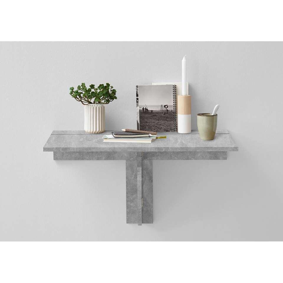 Wandplank/klaptafel Arta - beton grijs - 80x44x51 cm - Leen Bakker