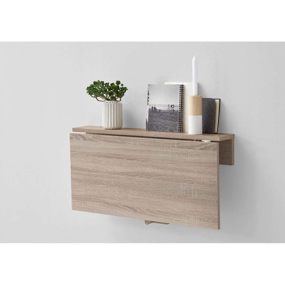 Wandplank/klaptafel Arta - eikenkleur - 80x44x51 cm - Leen Bakker