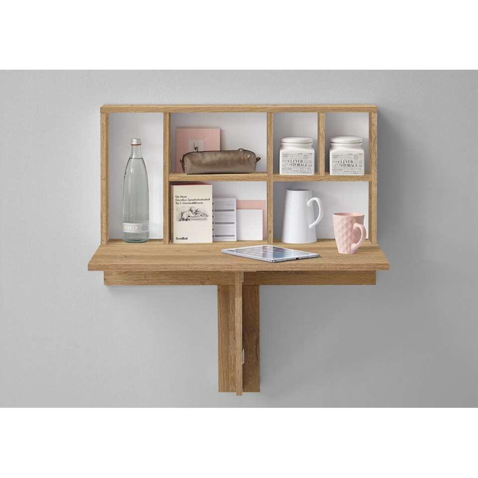 Wandplank/klaptafel Arta - oud eikenkleur - 80x83,3x40,4 cm - Leen Bakker
