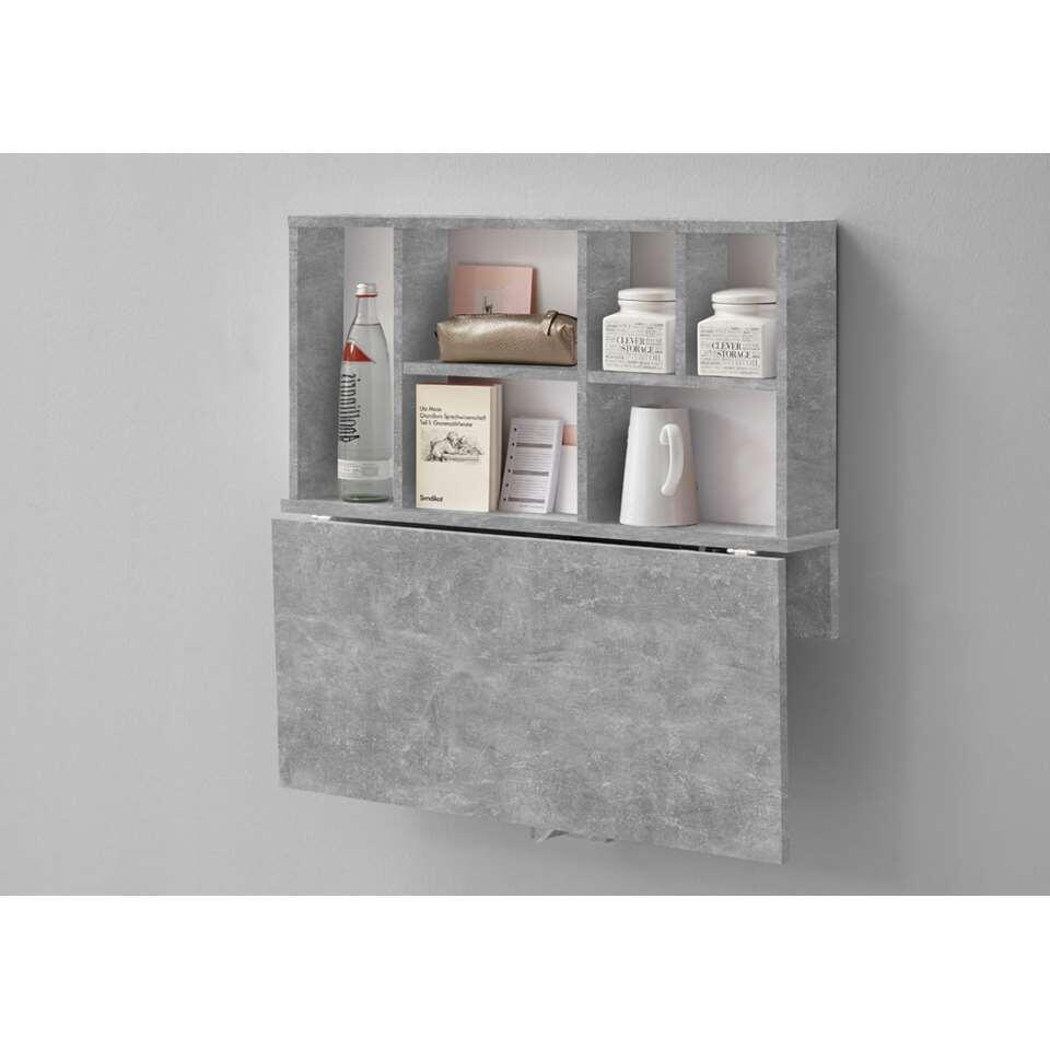 Wandplank/klaptafel Arta - beton grijs - 80x83,3x40,4 cm - Leen Bakker