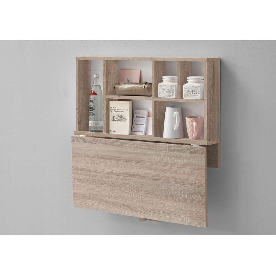Wandplank/klaptafel Arta - eikenkleur - 80x83,3x40,4 cm - Leen Bakker