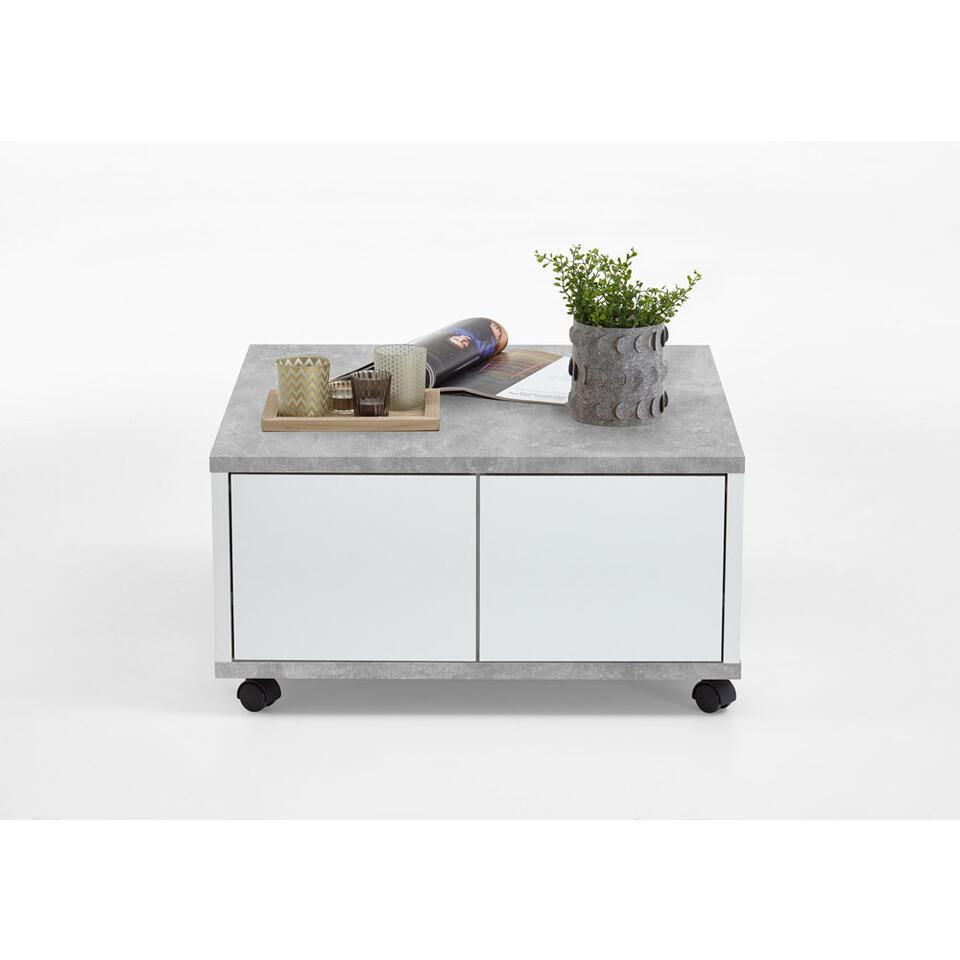 Salontafel Twin - beton/wit edelglans - 70x36x70 cm - Leen Bakker