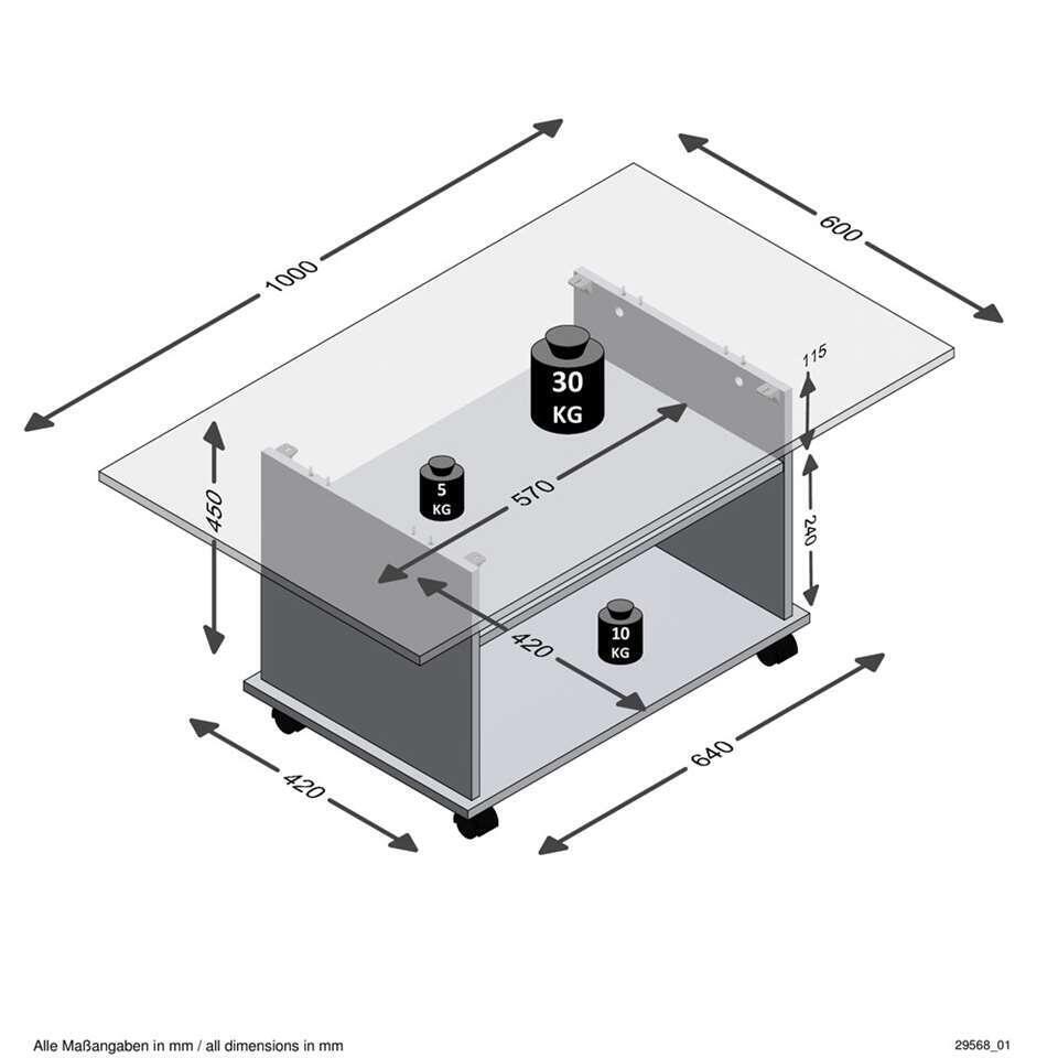 Salontafel Azur - eikenkleur - 100x44x60 cm - Leen Bakker