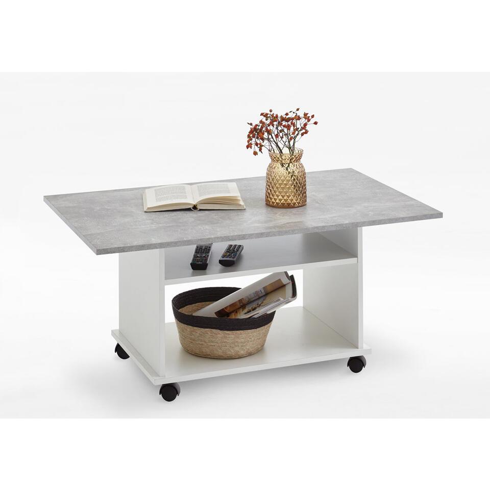 Salontafel Azur - wit/beton - 100x44x60 cm - Leen Bakker