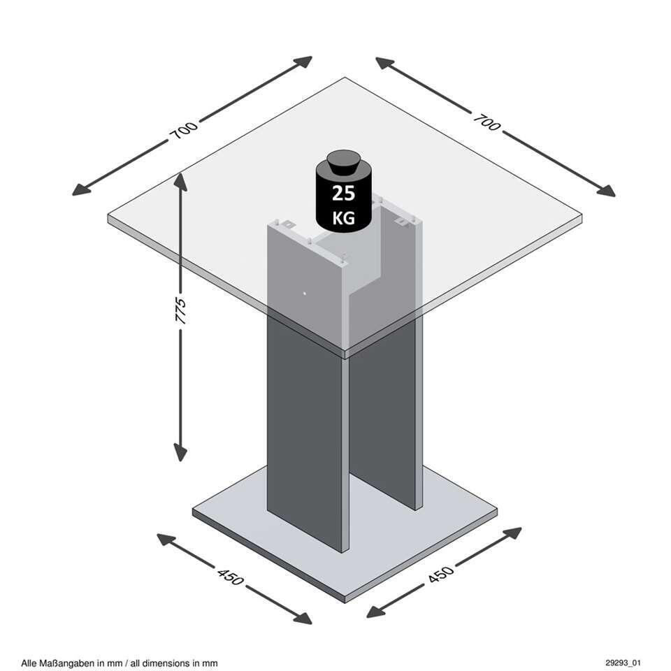Eetkamertafel Bandol - wit/eikenkleur - 70x70x77,5 cm