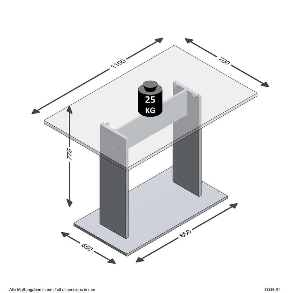 Eetkamertafel Bandol - beton - 110x77,5x70 cm - Leen Bakker