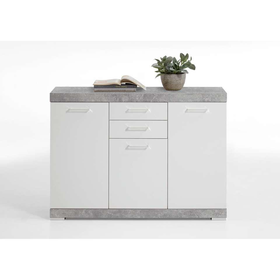 Commode Bristol - betonkleur/wit edelglans - 120x90x35 cm