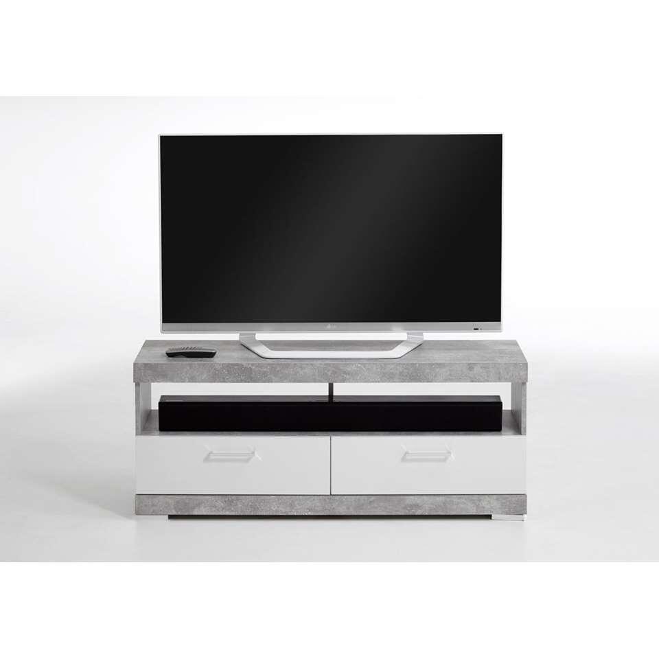 TV-Meubel Bristol - betonkleur/wit edelglans - 120x50x35 cm - Leen Bakker