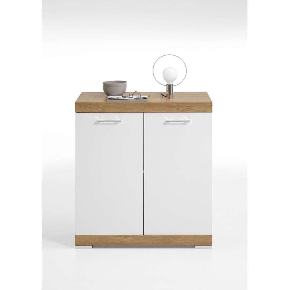 Commode Bristol - oud eikenkleur/wit edelglans - 80x90x50 cm - Leen Bakker
