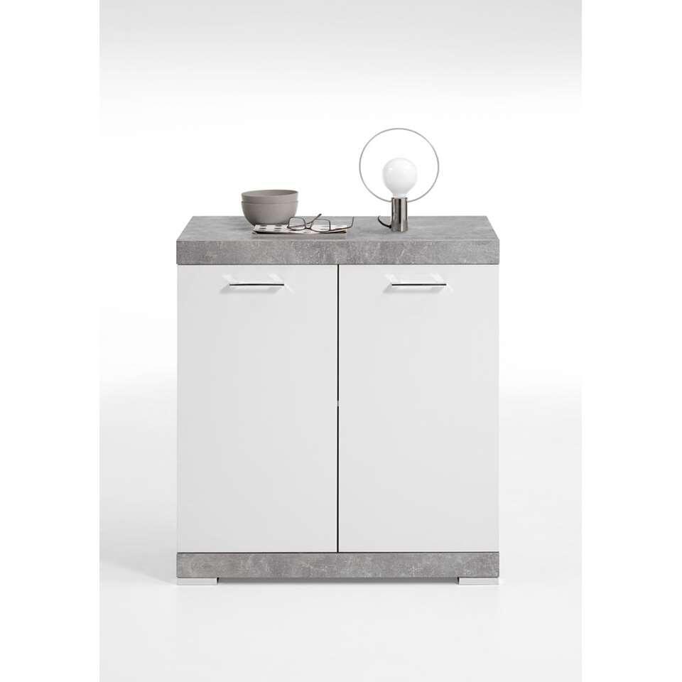 Commode Bristol - couleur béton/blanc brillant - 80x90x50 cm