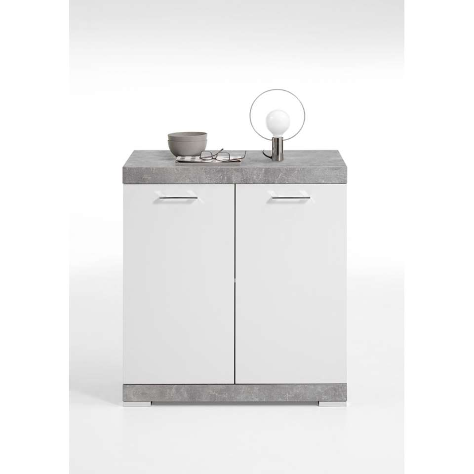 Commode Bristol - betonkleur/wit edelglans - 80x90x50 cm