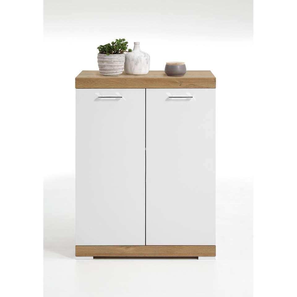 Commode Bristol - oud eikenkleur/wit edelglans - 80x109x50 cm - Leen Bakker