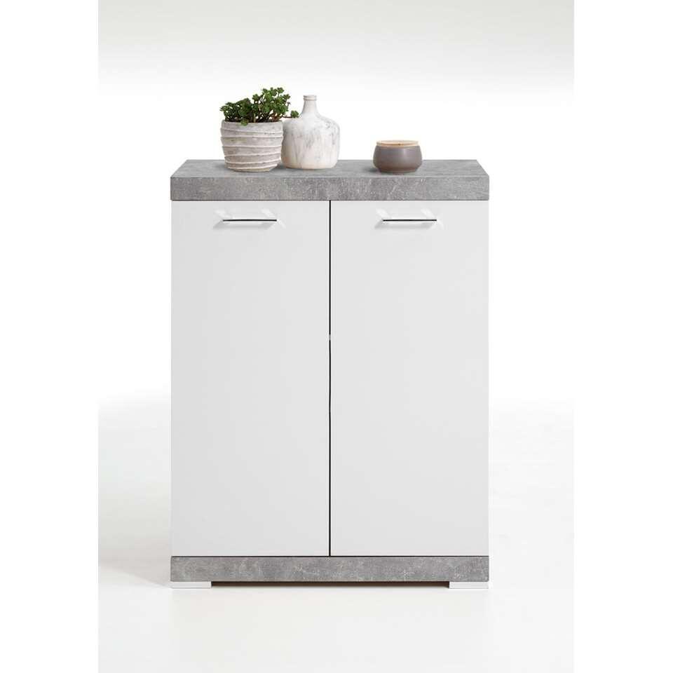 Commode Bristol - betonkleur/wit edelglans - 80x109x50 cm - Leen Bakker