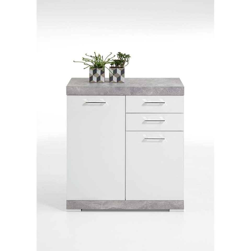 Commode Bristol XL - betonkleur/wit edelglans - 89,9x80x49,9 cm - Leen Bakker
