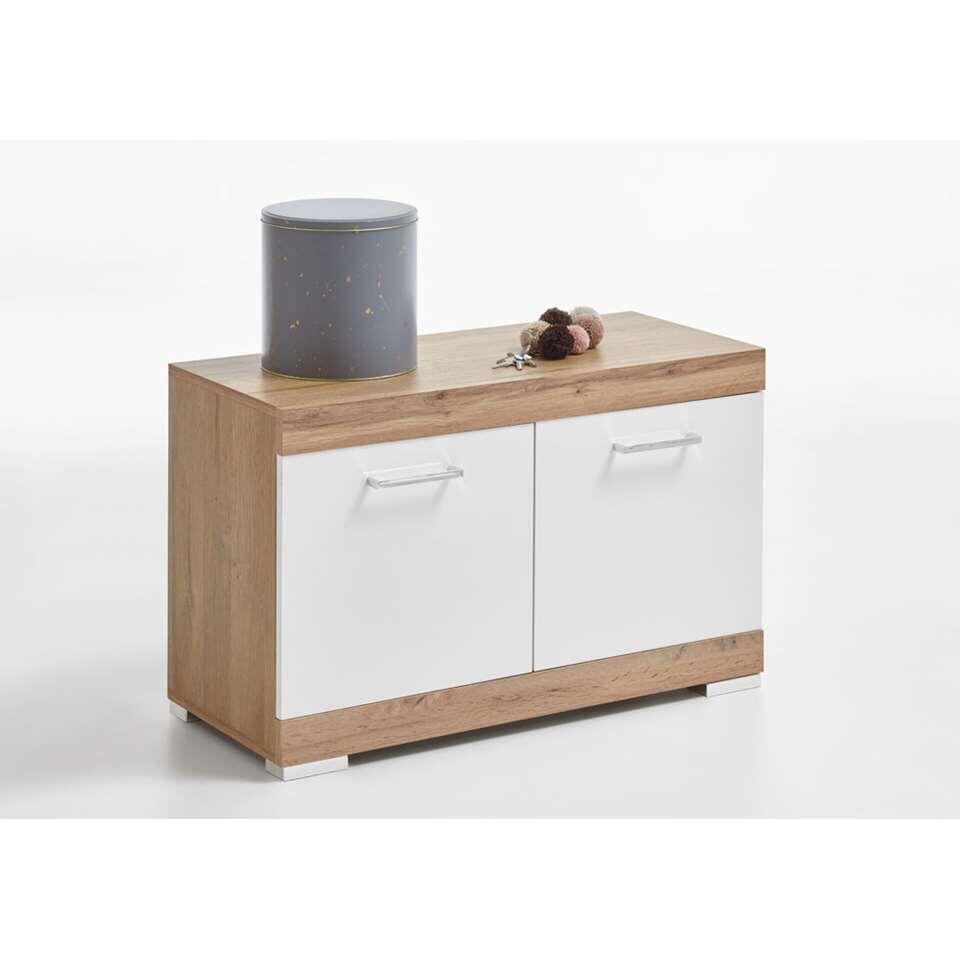 Halbank Bristol - oud eikenkleur/wit edelglans - 80x50x35 cm - Leen Bakker