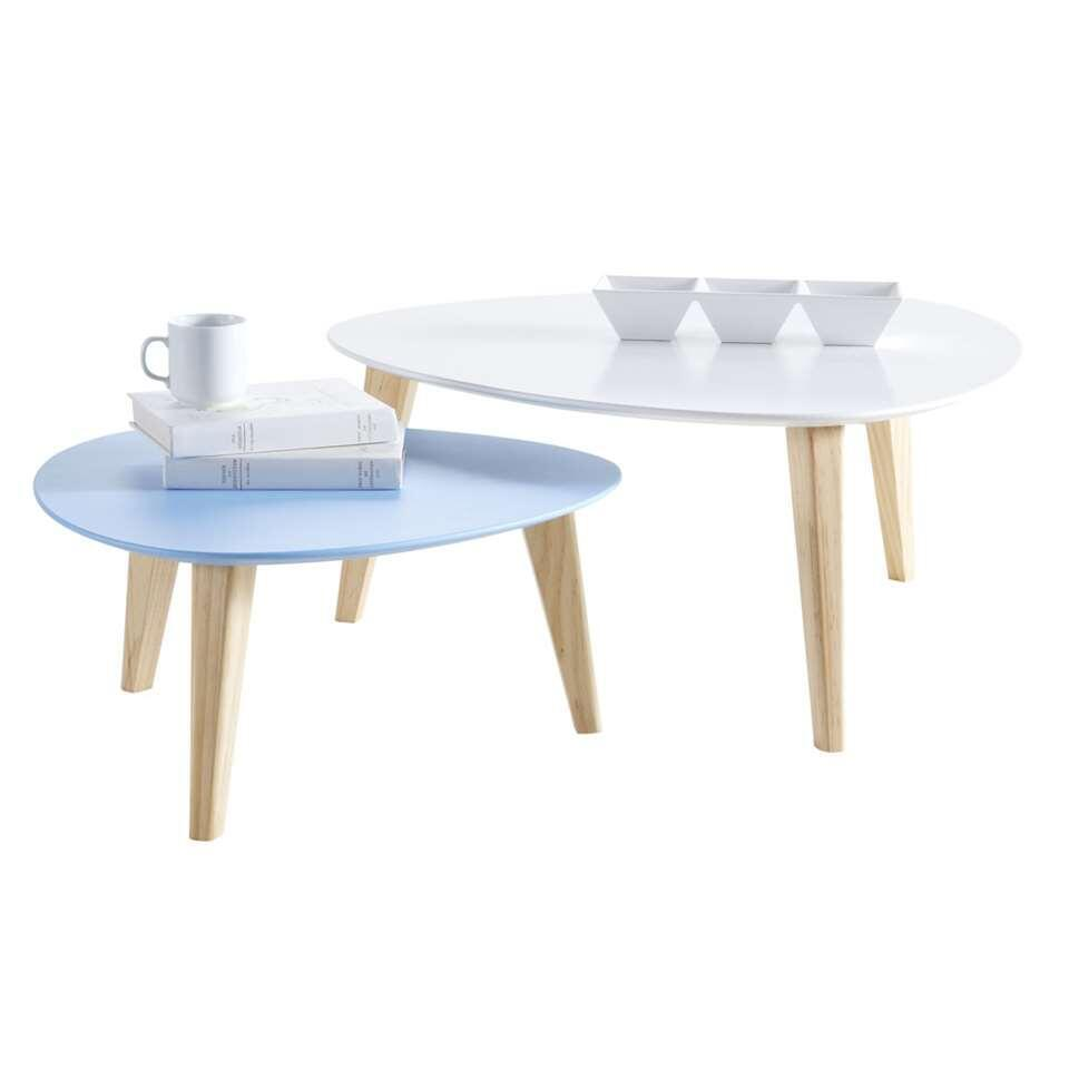 Demeyere salontafel Stone - multikleur (2 stuks) - 80x35x80 cm - Leen Bakker