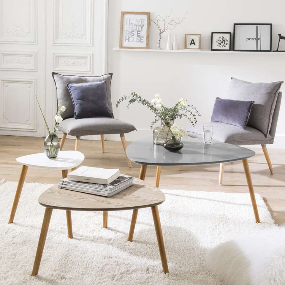 Demeyere salontafel Agnes - multikleur (3 stuks) - 80x80x40 cm - Leen Bakker